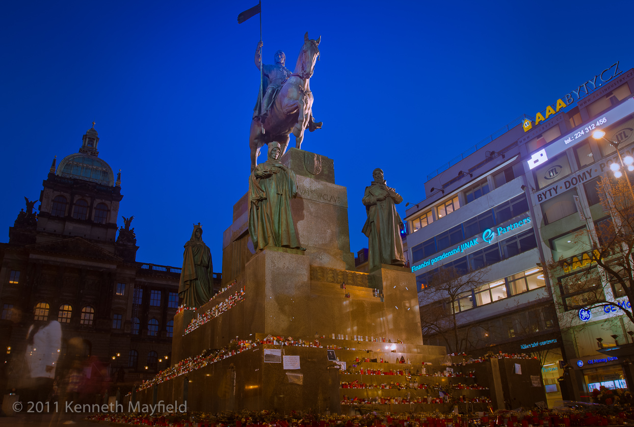 Wenceslas Square horse statue with candles.