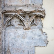 old sculpted detail on wall