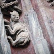 sculpted creature on archway