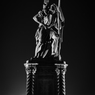 Statue of St. Christopher at night
