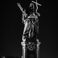 Statue of St. John the Baptist at night