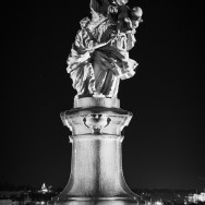 Statue at night of St. Anne, the mother of the Virgin Mary