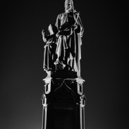 Statue at night of St. Joseph and Christ