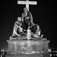 Statue at night of Pieta, or the Lamentation of Christ