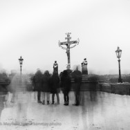 blurred people on Charles bridge