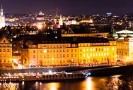 Very wide panorama of Prague at night
